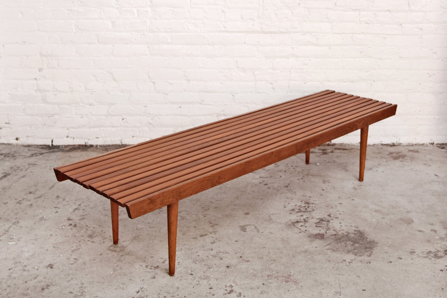Extra Long Slat Bench Mid Century Coffee Table