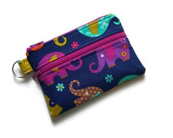 Keychain Wallet, Mini Wallet, Coin Purse With Zippered Pocket in Colorful Elephants
