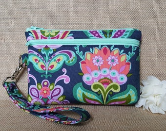 Cell Phone Wallet, Wristlet Wallet, Cell Phone Clutch with Removable Strap in Floral Print
