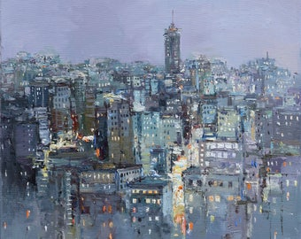 "Twilight city - Original cityscape painting 27.6""x27.6"" Urban landscape painting by Valiulina"