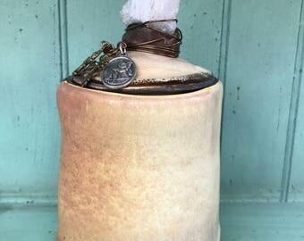 Prayer Jar in Rusty Cream with Amethyst