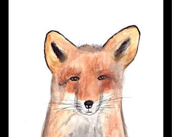 SALE Fox art watercolour Nursery art Original watercolour Animal painting Fox illustration Fox Wall art Woodland animal art 9 x 12 inch