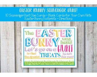 EASTER EGG SCAVENGER Hunt Cards, Easter Egg Hunt, Easter Basket Hunt, Scavenger Hunt, Easter Bunny Notes, Easter, Printable