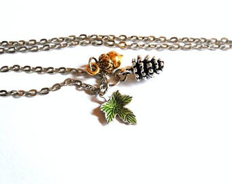 Pine Cone Necklace with Acorn & Oak Leaf Charms / Nature Inspired Necklace / Woodlands Necklace / Mixed Metal Necklace