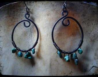 Hammered Wire Turquoise Earring's