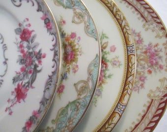 Vintage Mismatched China Dessert / Bread Butter Plates for Tea Party, Showers, Hostess Gift, Bridesmaid Gift-Set of 4