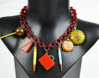 1940s/50s Vintage Teachers' Necklace with Bakelite Pendants on Celluloid Chain