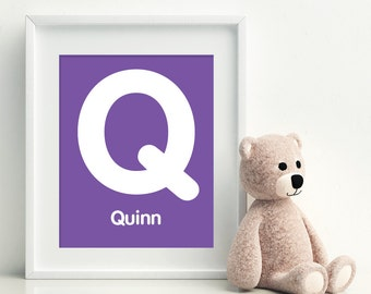 Q is for QUINN -  Initial Letter Alphabet Personalized Name Wall Art Home Decor Nursery Wall Art, Children's Wall Art, Playroom Decor