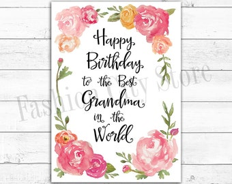 Happy Birthday Card for Grandma - Watercolor Peonies - Printable - DIY - Instant Download