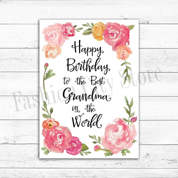 Happy Birthday Card For Grandma Watercolor Peonies