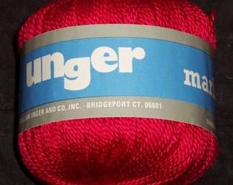 Unger Marbella yarn,100% acrylic,50 gm ball,fushia-ish red, made in Spain,knitting,crochet