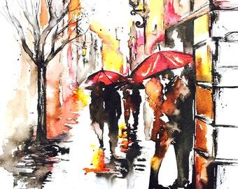 Paris Love Original Watercolor Illustration - Paris Wanderlust Watercolor - Lana Moes' Romantic Wanderlust Collection