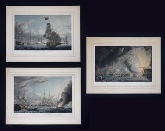 Set of 3 The Battle of the Nile / Lord Nelson Aquatints by Robert Dodd (1748-1816) - 1799, England