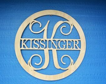 Door Hanger - Wooden Name - Unpainted Wood Letters - Door Wreath - Monogram Wreath - Housewarming Gift - Wedding Gift - Personalized Gift