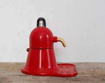 ITALIAN COFFEE MAKER - small red espresso coffee machine, moka espresso cappuccino, set of 2 coffee cups, breakfast, made in Italy