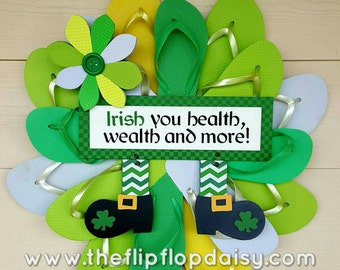 Beautiful Handmade Flip Flop Wreath St Patricks Day Door Wall  Decor Beach