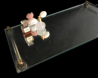 Vintage Vanity Tray Mirrored Tray Hollywood Regency Bathroom Tray Rectangular Perfume Tray Jewelry Tray Dresser Tray