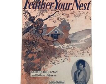 "Vintage Sheet Music ""Feather Your Nest"" 1920 Valentine Love Songs Scrapbooking Art Deco Sheet Music Art Decor Music Notation Paper Flowers"