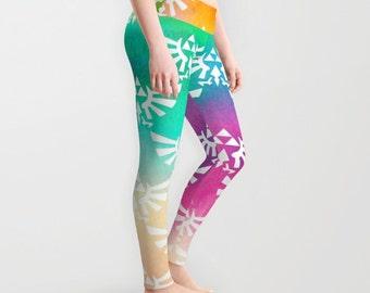 Zelda Leggings, Triforce Leggings, Hylian Royal Crest Leggings, Triforce on Bright Watercolor Leggings, Nintendo Leggings