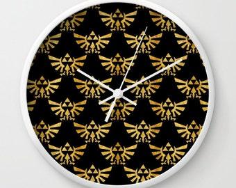 "10"" Zelda Clock, Triforce Clock, The Legend of Zelda Clock, Triforces in Gold Wall Clock, Hylian Royal Crest Clock"