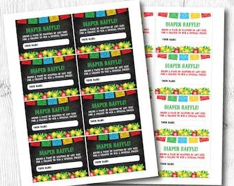 Diaper Raffle Ticket Printable, FIESTA Diaper Raffle Ticket, INSTANT DOWNLOAD