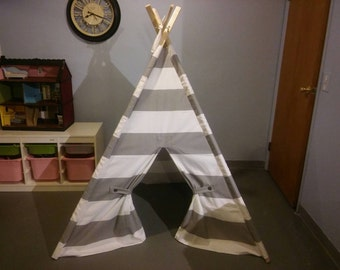 """Play Tent Large gray and White Stripe   6"""" Wide Stripes  Big outdoor Teepee also in Eight other colors teepee guy. Pictured in storm"""
