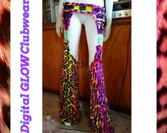 Rainbow leopard fur chaps .. festival rave outfit burning man edc
