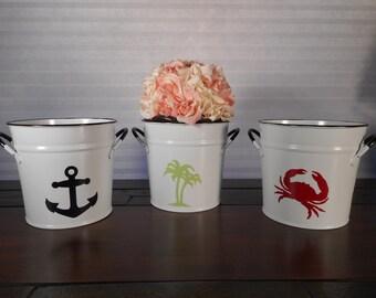 White enamel bucket / beach decor / nautical decor