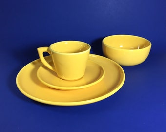 Bauer Pottery Set in Yellow, Monterey Moderne, Dinner Plate, Cereal Bowl, Cup and Saucer, 1940's- 50's