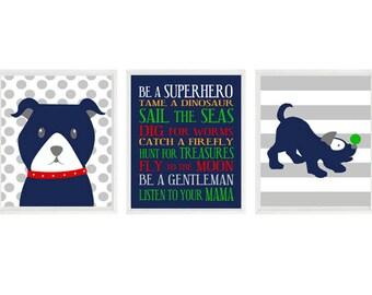 Puppy Nursery Wall Art, Dog Nursery Art, Boy Rules Print,Baby Boy Room, Boy Nursery, Puppy Art, Dog Art, Baby Gift, Polka Dots, Stripes