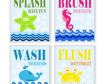 Kids Bathroom, Sea Creature Bathroom, Beach Bathroom Decor, Wash, Flush,  Brush
