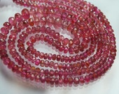 7 Inch-Super-FINEST-Pink Tourmaline Faceted Rondelles 3-4.5mm Size