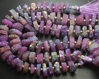 8 Inch Strand,Finest Quality,Lavender TITANIUM Rainbow Druzy Coins Fancy Shaped Briolettes,12-14MM,Great Item,