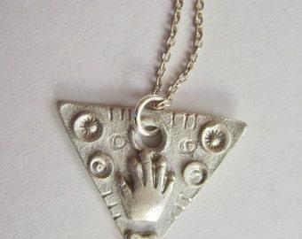 little triangle artisan hand pendant,  sterling