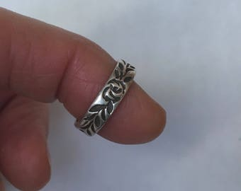 vintage sterling rose band, size 4.25