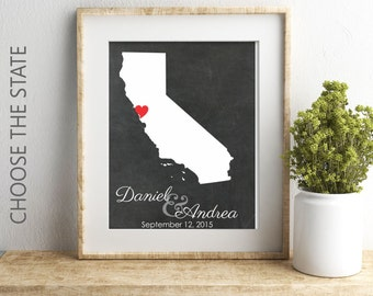 California Map Wedding Gift For Husband, California State Wall Art, Chalkboard Map, Bridal Shower Gift, 2nd anniversary gift for her