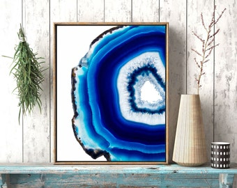 Blue Agate Poster, Blue Geode Art, Agate Slice, Agate Crystal Print, Mineral Photography, Yoga Lover Gift, Meditation Art Yoga Studio Decor