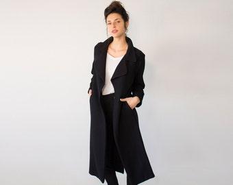 Black Winter Coat, Trench Coat, Oversized Coat, Cardigan Coat, Maxi Coat Jacket, Classic Coat, Fashion Cardigan, Winter Outerwear, Warm Coat
