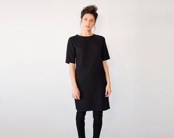 SALE - Sweater Tunic, Women's Tunic Dress, Plus Size, Short Cocktail Dress, Black Dress for Women, Oversized Tunic, Short Sleeves Tun...