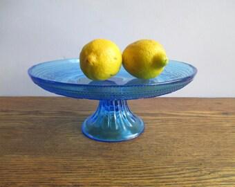 Vintage Blue Glass Cake Stand