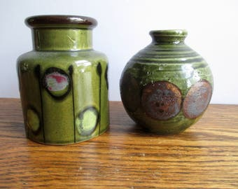 Vintage Pair of Green Circles Vases
