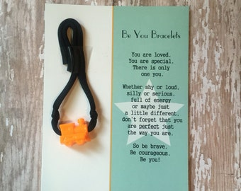 Be You Bracelet- Black w/Orange Train - Useful in Helping With Fidgeting, Sensory Needs, Separation Anxiety, Positive Reinforcement