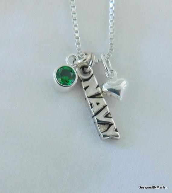 Sterling silver Navy necklace, military jewelry, sterling silver jewelry, proud mom necklace, Navy girlfriend jewelry, Navy wife jewelry