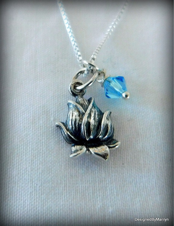 Sterling silver lotus bud necklace,  yoga jewelry, spiritual necklace, faith jewelry, meditation, peace