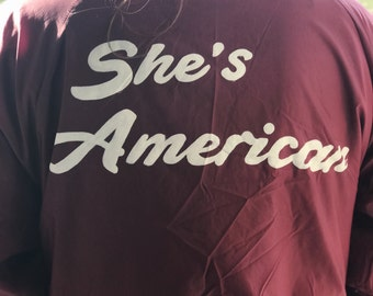 Hand Painted 'She's American' Bomber Jacket