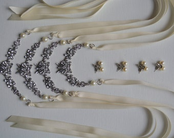 Rhinestone and Pearl Bridesmaid Necklace Set with Pearl Earrings,