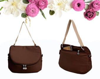 Caramel Brown Crossbody Messenger Shoulder Canvas Bag