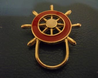 Vintage Red Enamel on Gold Tone Ship's Wheel Brooch, 417S