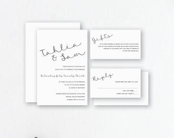 Simple Wedding Invitations - ModernWedding Invites - Black & White Invitations - Wedding Stationery