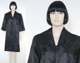 Vintage 1960s Black Satin Evening Coat - Hand Tailored - Made in Japan - Pink Lining - Formal Brocade Satin Coat - Evening Coat - Size 10